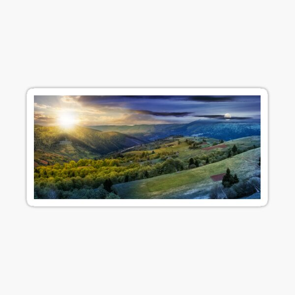 forest on a mountain hillside in rural area. day and night change Sticker