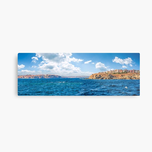 town on a cliff above the seashore Metal Print