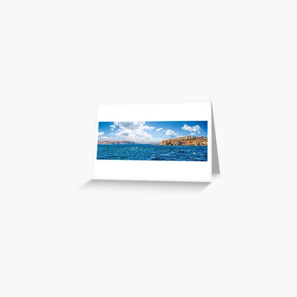 town on a cliff above the seashore Greeting Card