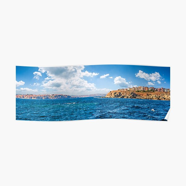 town on a cliff above the seashore Poster