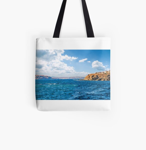 town on a cliff above the seashore All Over Print Tote Bag