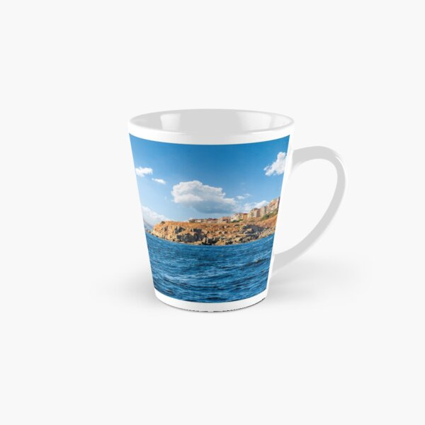 town on a cliff above the seashore Tall Mug