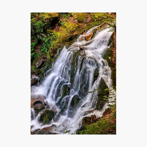 waterfall Shypot in Carpathian forest Photographic Print