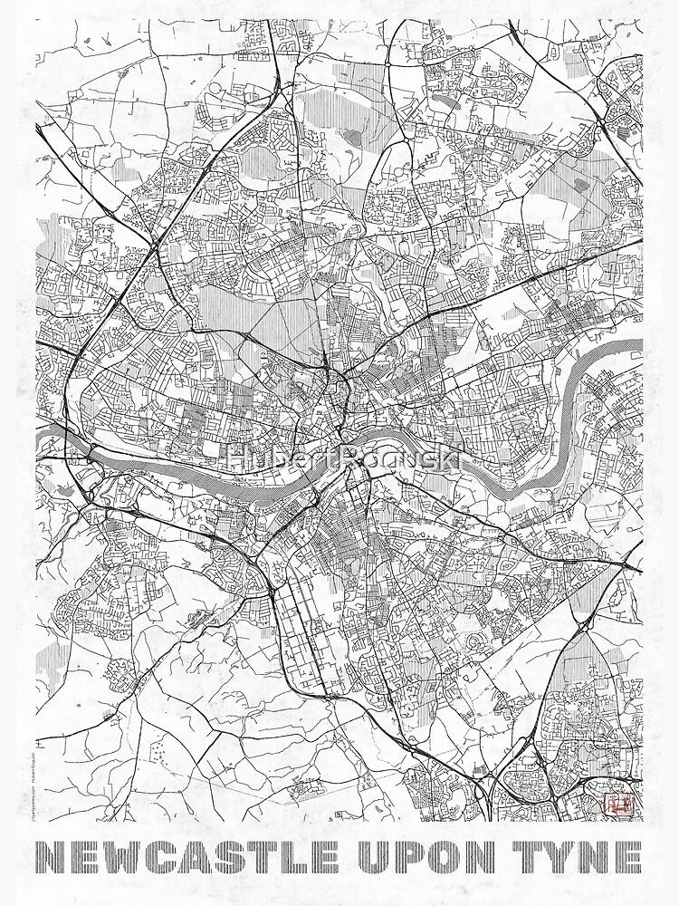 Newcastle upon Tyne Map Line by HubertRoguski