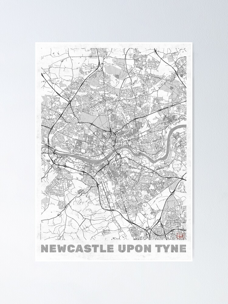 Alternate view of Newcastle upon Tyne Map Line Poster