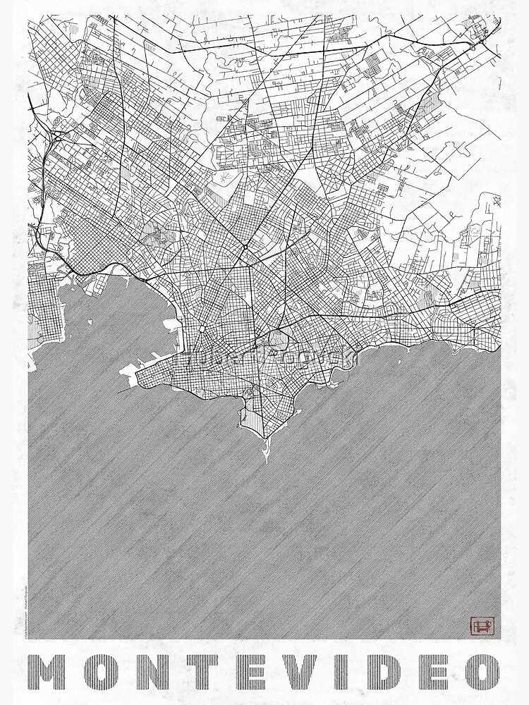 Montevideo Map Line by HubertRoguski