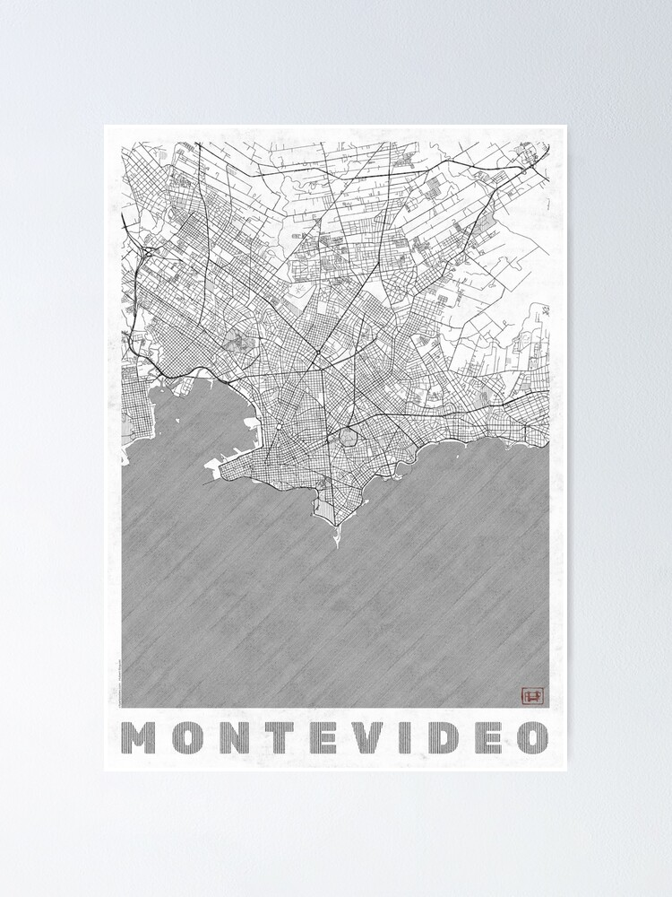Alternate view of Montevideo Map Line Poster