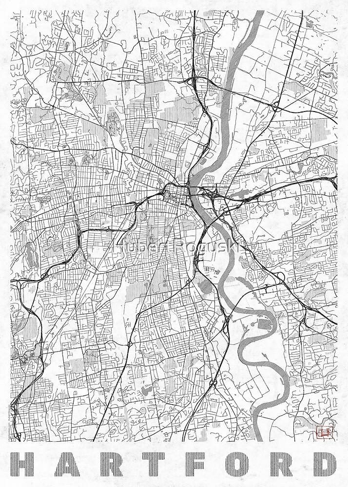 Hartford Map Line by HubertRoguski