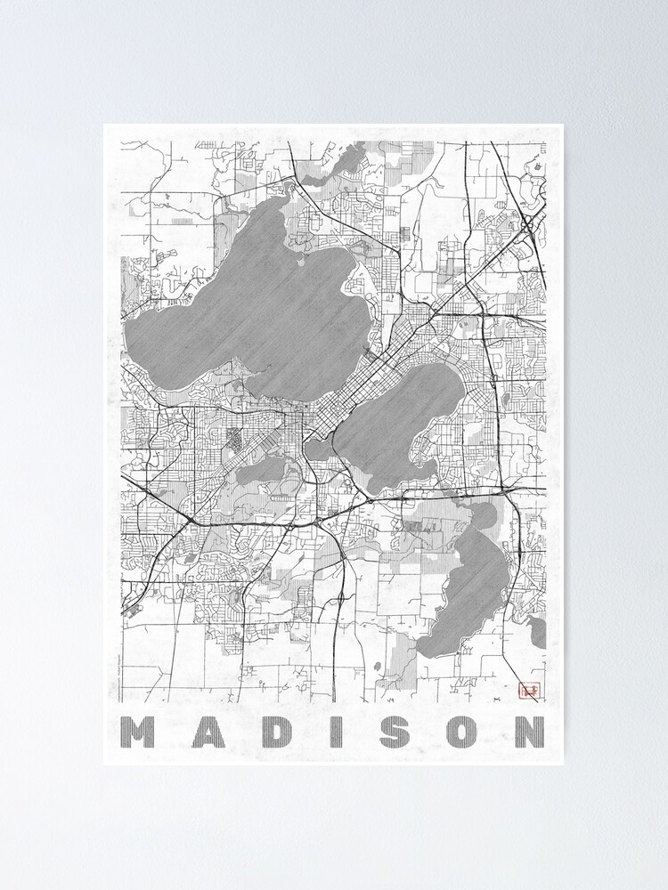 Alternate view of Madison Map Line Poster