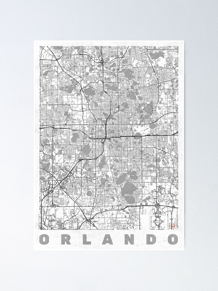 Alternate view of Orlando Map Line Poster