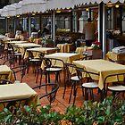FIRENZE ITALIA CAFE SENZA CLIENTES PIAZZA NELLA PIOGGIA by Thomas Barker-Detwiler