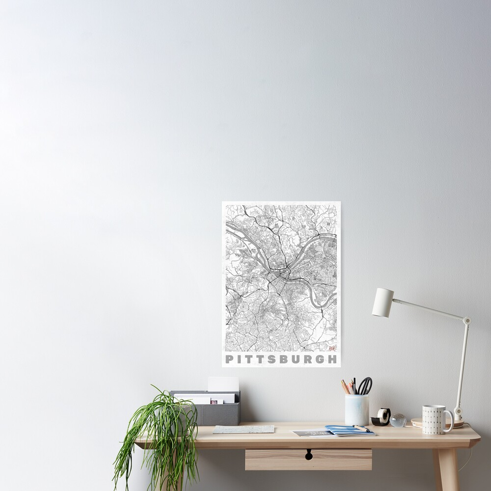 Pittsburgh Map Line Poster