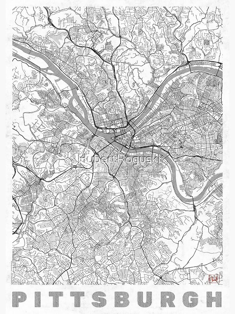 Pittsburgh Map Line by HubertRoguski