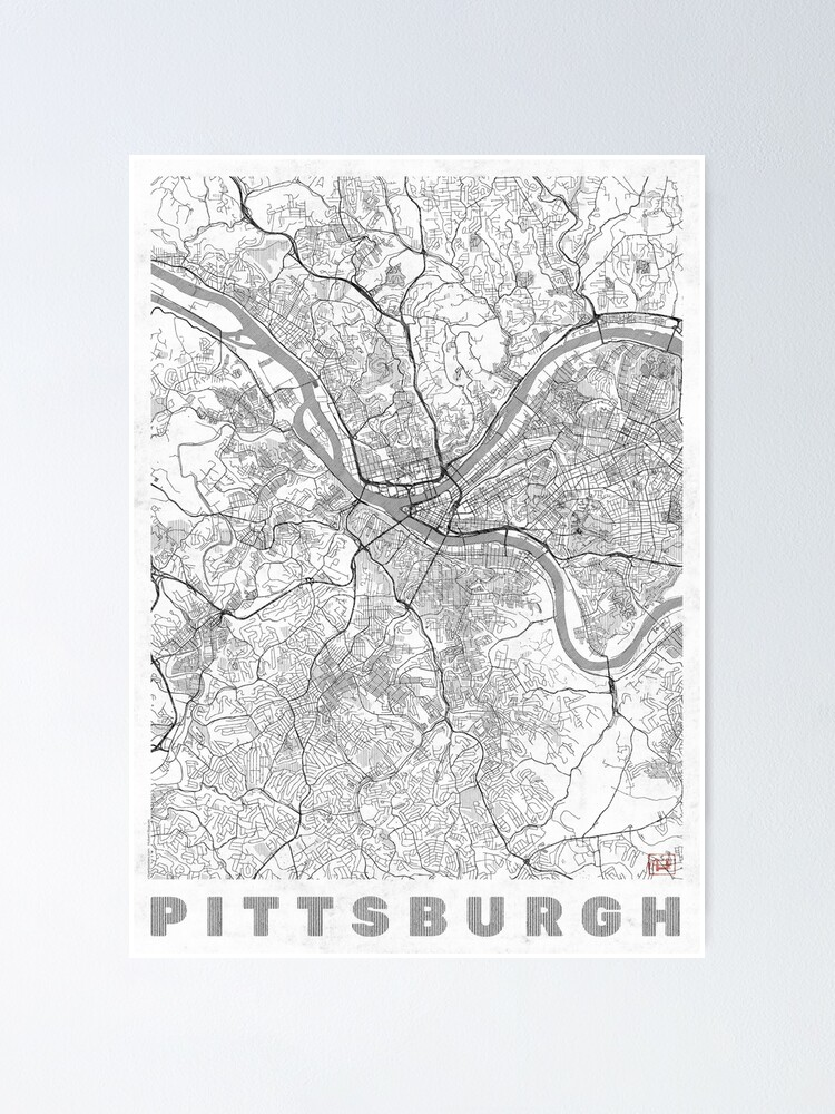 Alternate view of Pittsburgh Map Line Poster