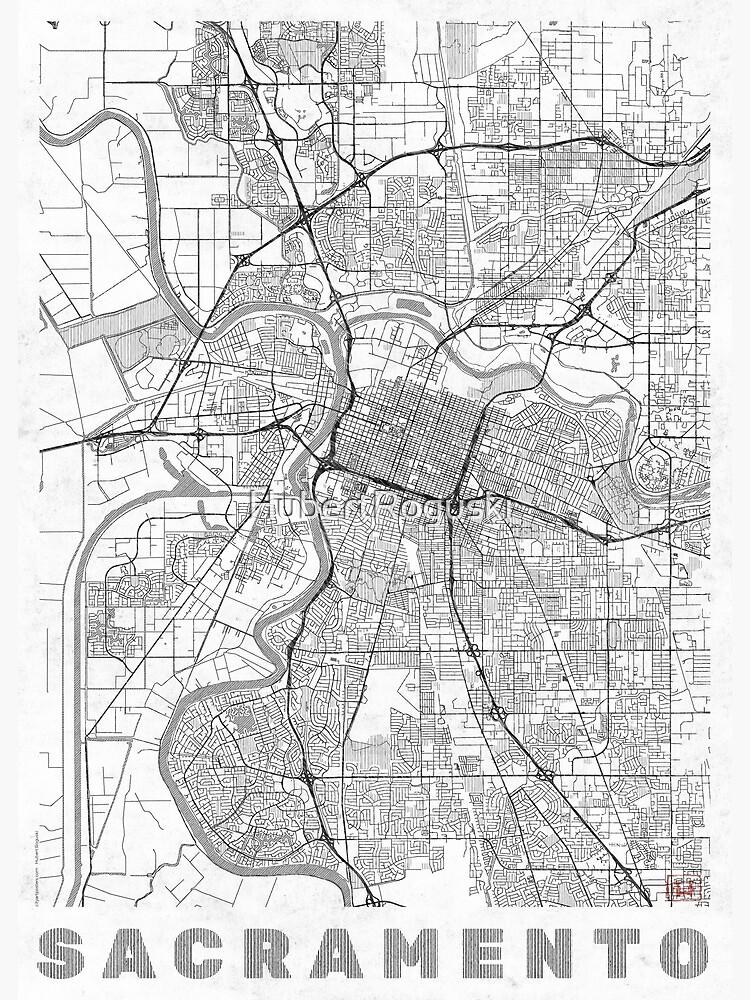 Sacramento Map Line by HubertRoguski
