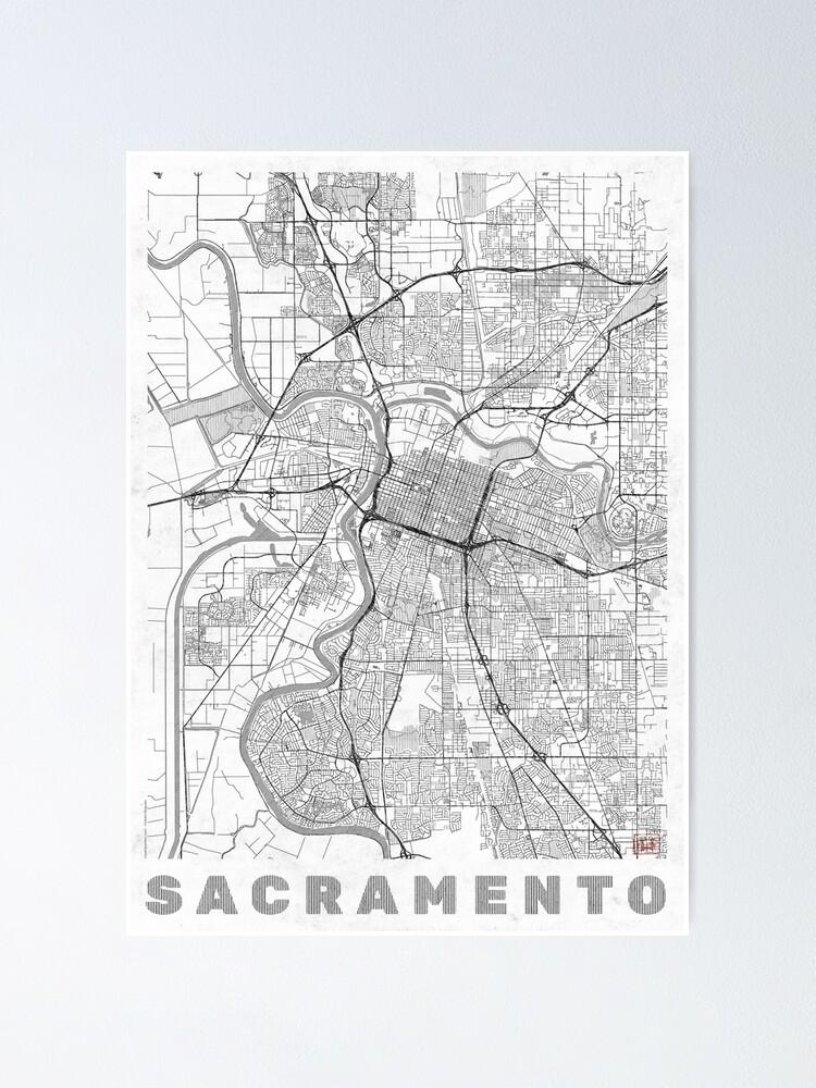 Alternate view of Sacramento Map Line Poster