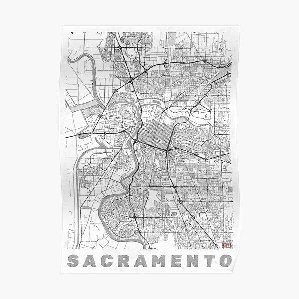 Sacramento Map Line Poster
