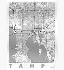 Tampa Map Line Poster