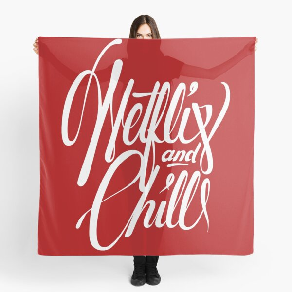 Netflix & Chill - white on red Scarf