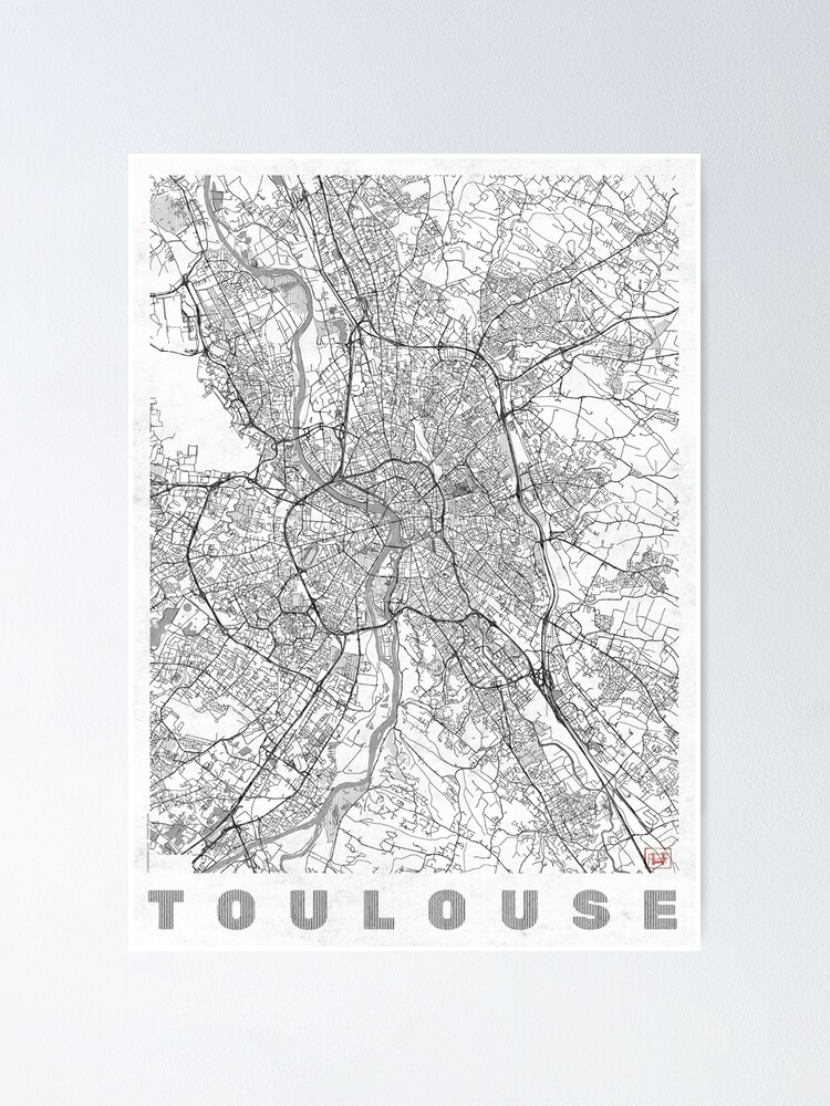 Alternate view of Toulouse Map Line Poster