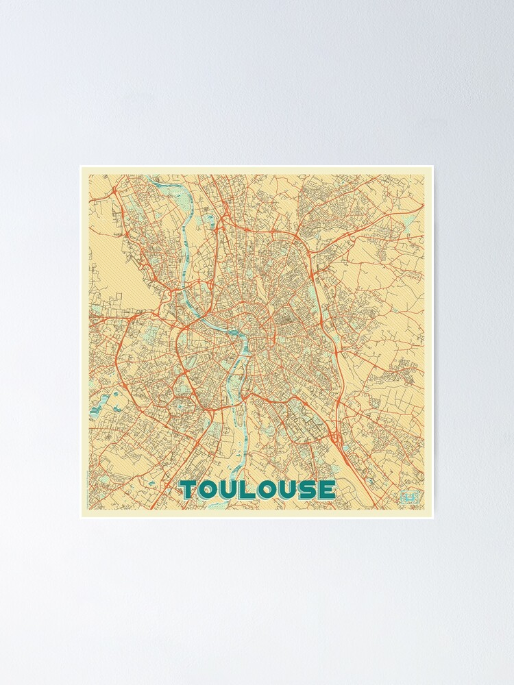Alternate view of Toulouse Map Retro Poster