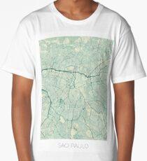 Sao Paulo Map Blue Vintage Long T-Shirt
