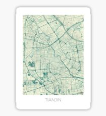 Tianjin Map Blue Vintage Sticker
