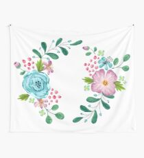 Bouquet Violet, Green AND Blue Flower Wall Tapestry