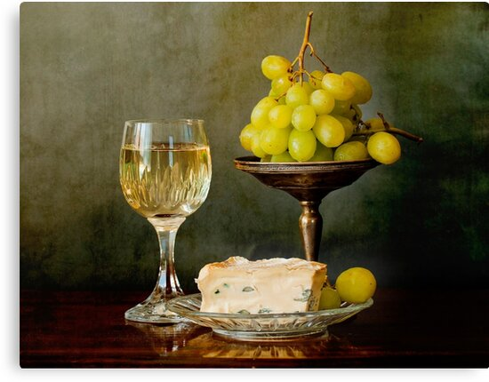 Gourmet snack, cheese grapes and white wine by gameover