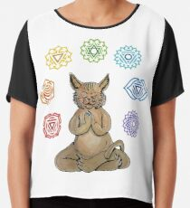 Yoga Cat with Chakras Blusa