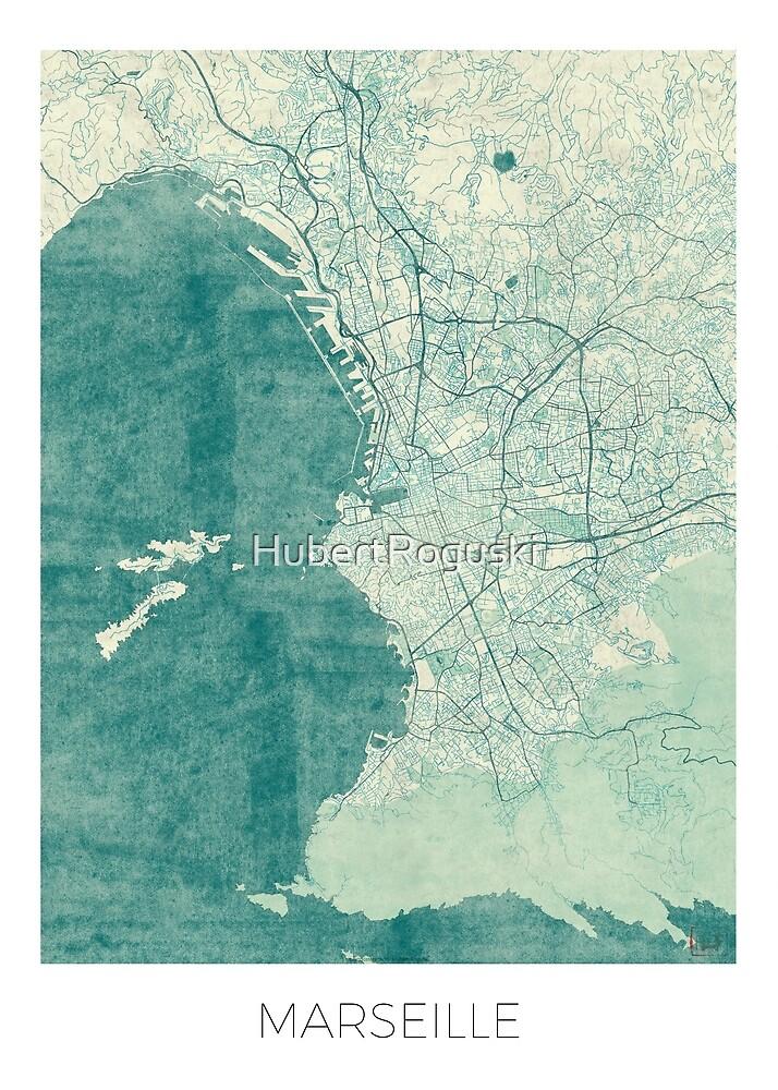 Marseille Map Blue Vintage by HubertRoguski