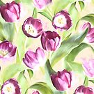 Deep Magenta Tulips on Creamy Peach by micklyn