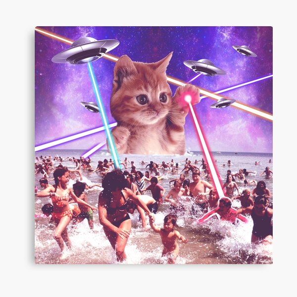 Alien Ufo cat attack from Mars space galaxy Canvas Print