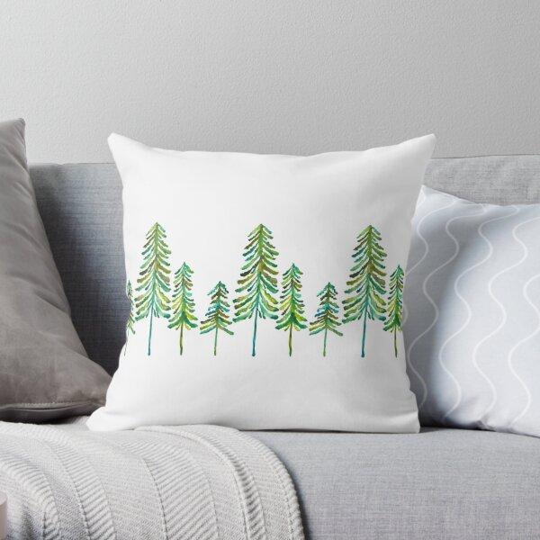 Pine Trees – Green Palette Throw Pillow