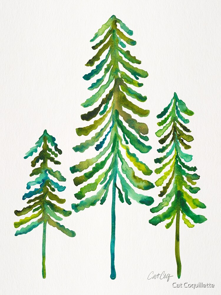 Pine Trees – Green Palette by Cat Coquillette