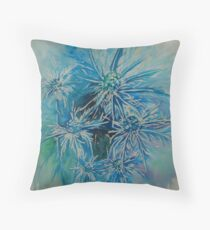 Sea Holly Watercolour Throw Pillow
