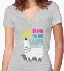 No Drama For This LLama Women's Fitted V-Neck T-Shirt