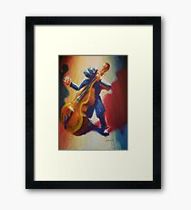 Funky Jazz Acoustic Bass Player Framed Print
