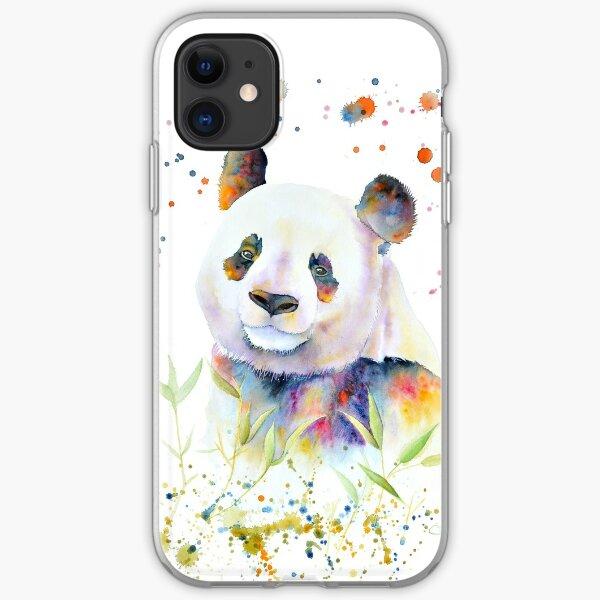 Aquarelle de panda Coque souple iPhone