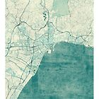 Malaga Map Blue Vintage by HubertRoguski