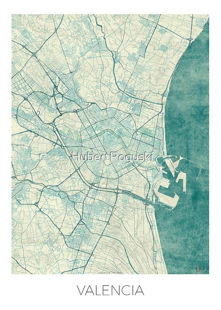 Valencia Map Blue Vintage by HubertRoguski