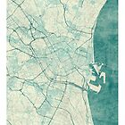 Valencia Map Blue Vintage by HubertRoguski