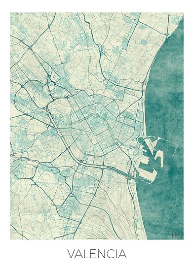 Valencia map blue vintage posters by hubertroguski - Vintage valencia ...