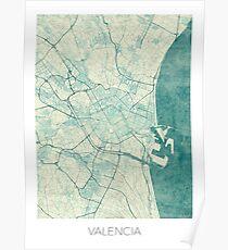 Valencia Map Blue Vintage Poster