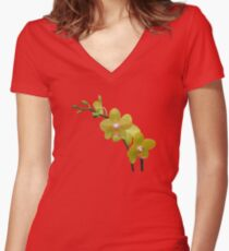 YELLOW ORCHIDS Women's Fitted V-Neck T-Shirt