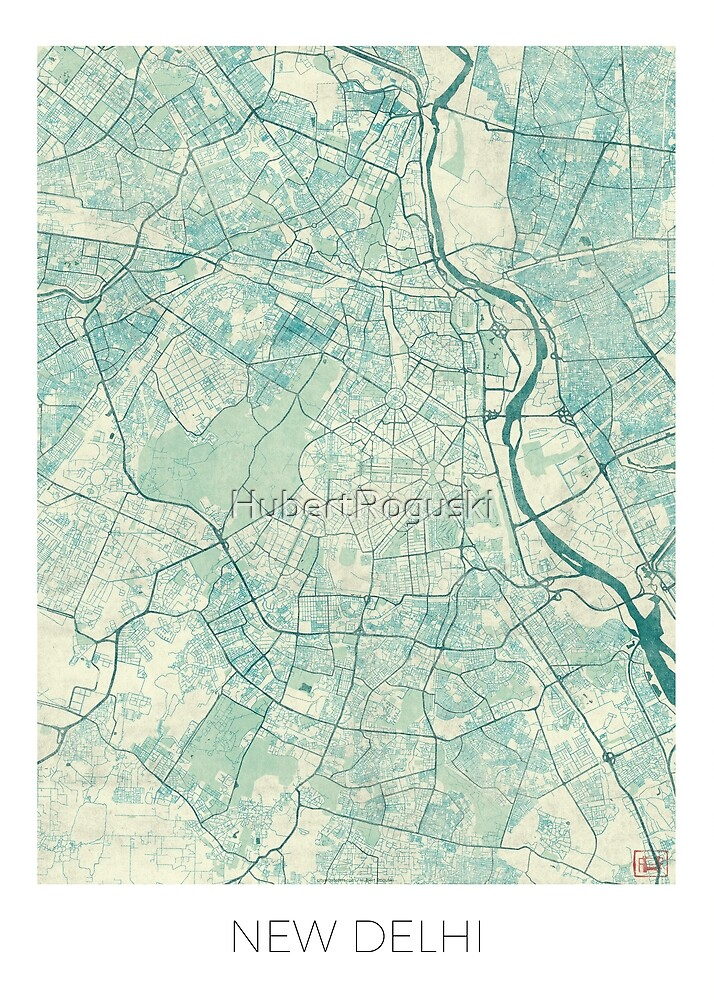 New Delhi Map Blue Vintage by HubertRoguski