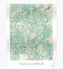 Kuala Lumpur Map Blue Vintage Poster