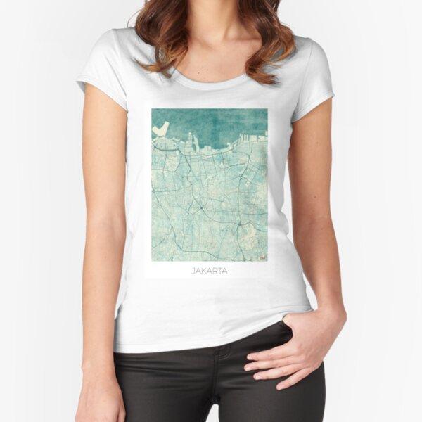 Jakarta Map Blue Vintage Fitted Scoop T-Shirt