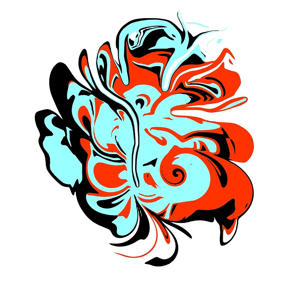 Abstract Butterfly in Orange and Aqua-Blue by Jessielee72