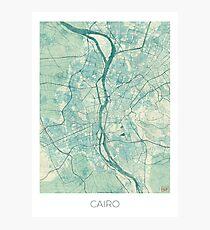 Cairo Map Blue Vintage Photographic Print